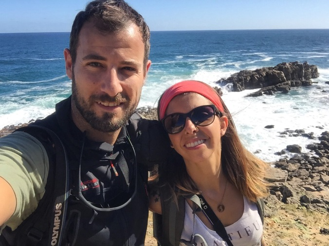 Víctor y Anna en Robberg, Sudáfrica